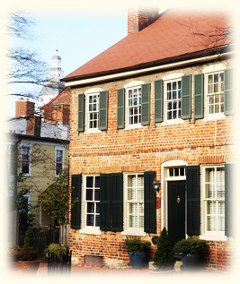 Brick Front of Georgian House an historic Bed and Breakfast in Annapolis, Maryland