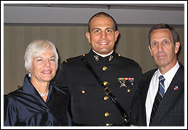 Ann and Tom, owners of Georgian House Bed and Breakfast in Annapolis and their son Tim, Midshipman at the Naval Academy.